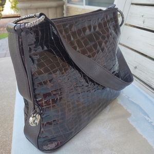 Brighton Cher Brown Croc Leather Shoulder Hobo